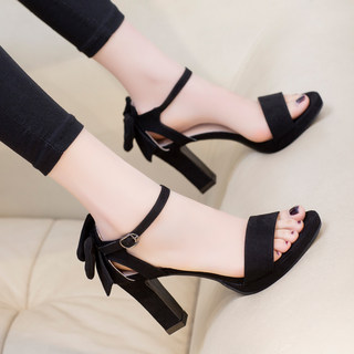 Korean summer shoes black bow high heeled shoes one button versatile women's shoes summer 2020 new thick heeled sandals