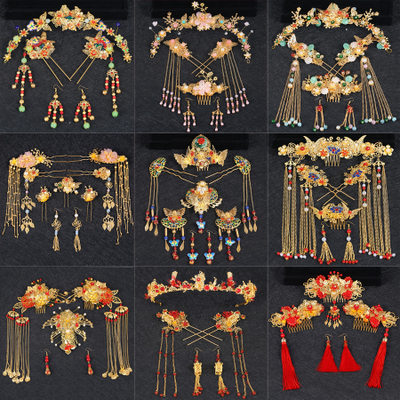 Chinese costume hair accessories Chinese Hanfu Bride Headdress Suit LiuSu Long FengXia Hair Ornament Marriage Red Ancient Suit Phoenix Crown