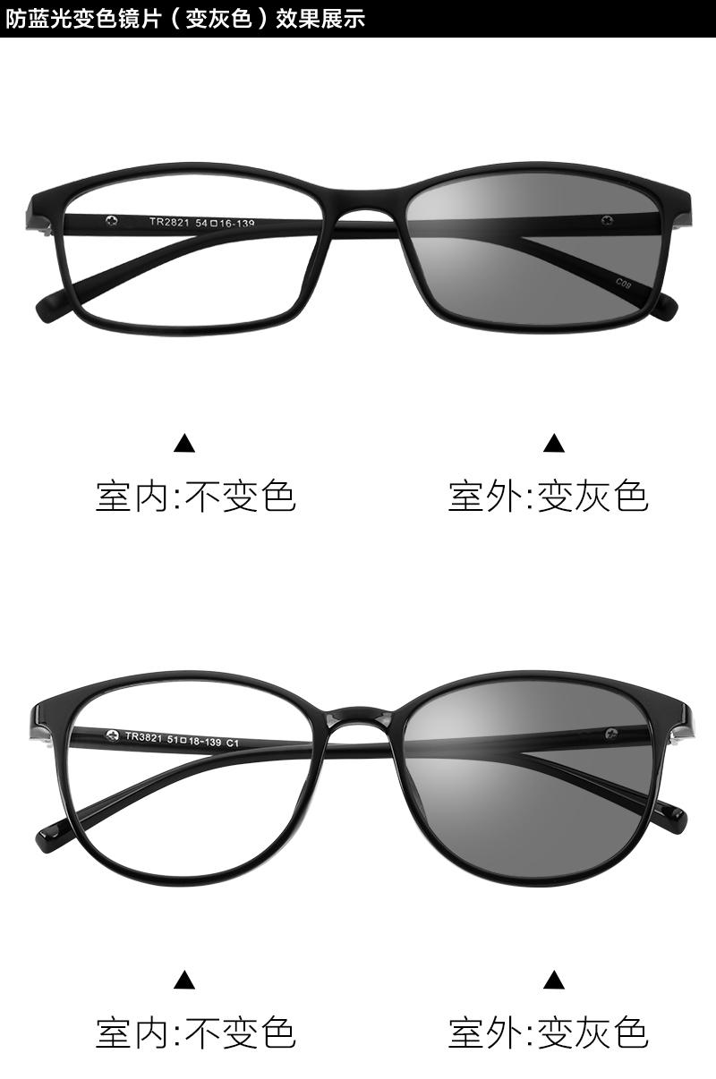 电脑眼镜护目镜防辐射眼镜变色防蓝光镜男女无度数平光近视眼睛框商品详情图