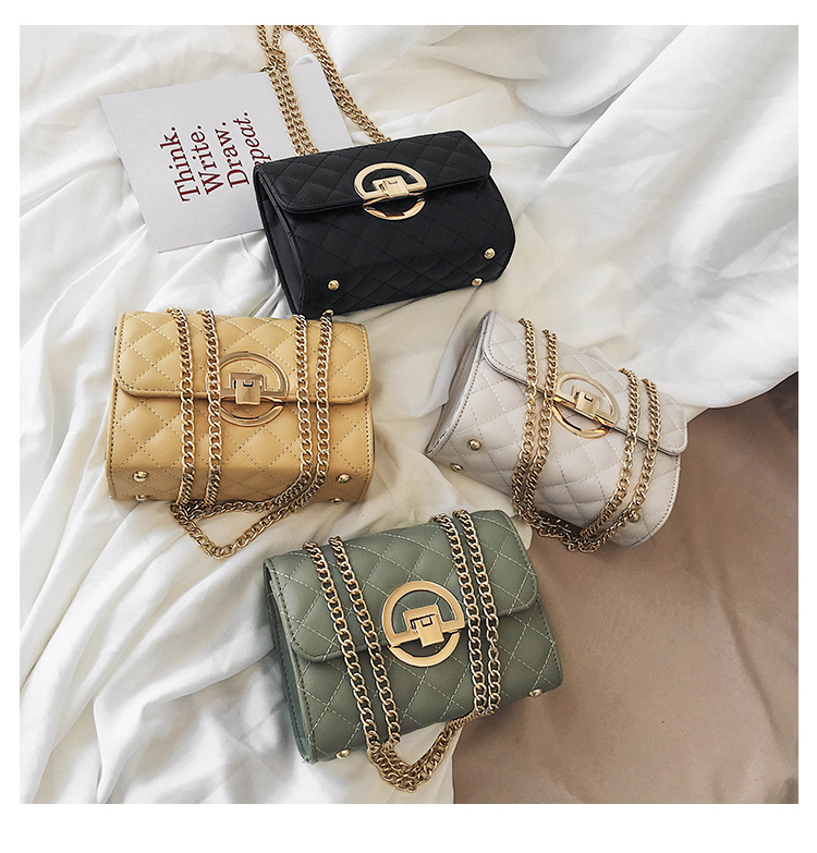Fashion Small Square Bag Handbag 2019 High-quality PU Leather Chain Mobile Phone Shoulder bags Green one size 37