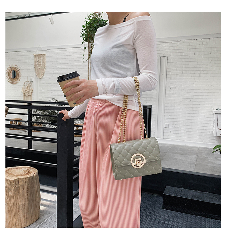 Fashion Small Square Bag Handbag 2019 High-quality PU Leather Chain Mobile Phone Shoulder bags Green one size 13
