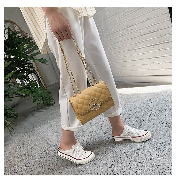 Fashion Small Square Bag Handbag 2019 High-quality PU Leather Chain Mobile Phone Shoulder bags Green one size 28