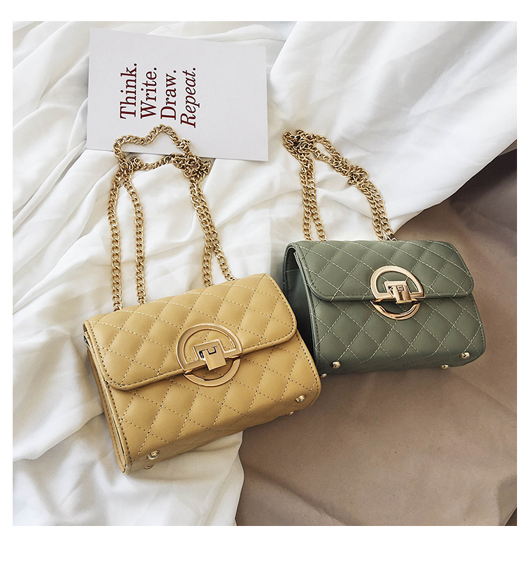 Fashion Small Square Bag Handbag 2019 High-quality PU Leather Chain Mobile Phone Shoulder bags Green one size 38