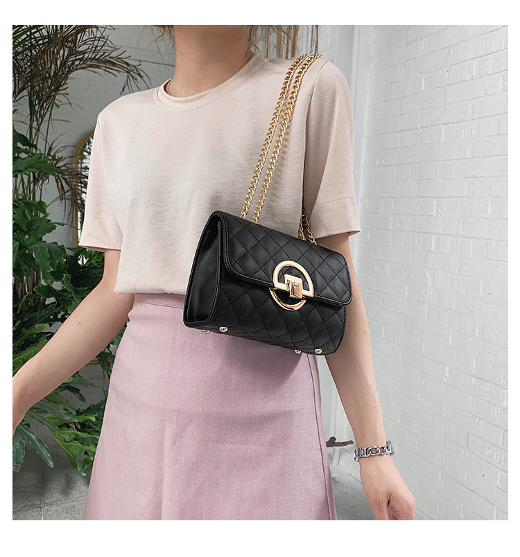 Fashion Small Square Bag Handbag 2019 High-quality PU Leather Chain Mobile Phone Shoulder bags Green one size 33