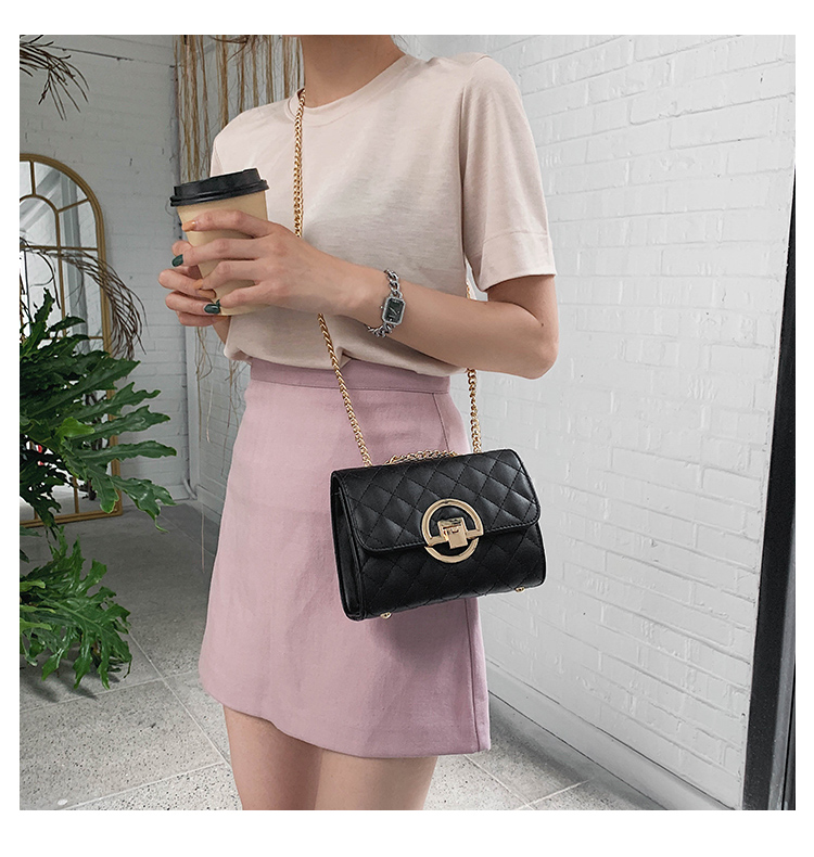 Fashion Small Square Bag Handbag 2019 High-quality PU Leather Chain Mobile Phone Shoulder bags Green one size 29