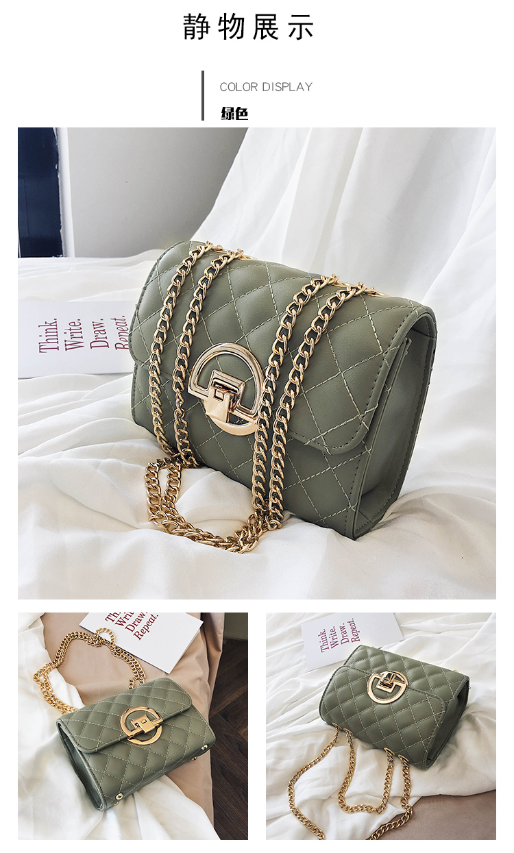 Fashion Small Square Bag Handbag 2019 High-quality PU Leather Chain Mobile Phone Shoulder bags Green one size 44