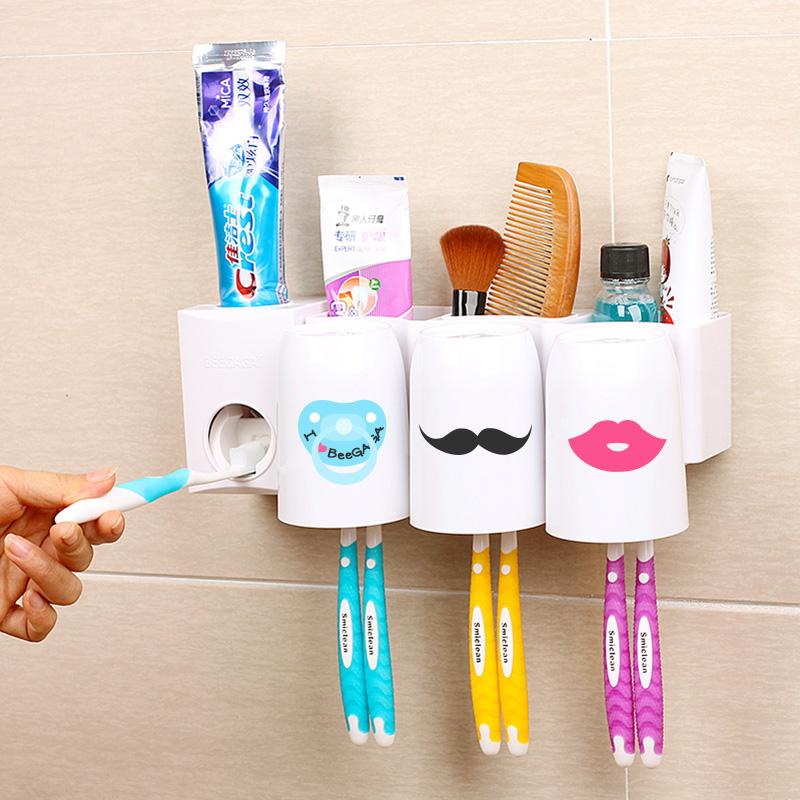 碧嘉嘉 口杯洗漱架 壁挂刷牙杯架 挤牙膏器