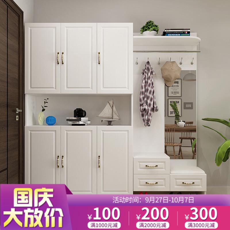 國慶現代簡約門廳玄關柜隔斷柜衣帽柜掛衣架組合吸塑門鞋柜可定制