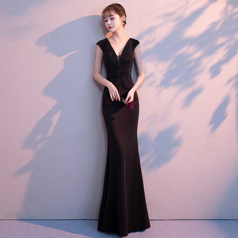 c2d5b971ce Banquet evening dress female 2019 new elegant ladies noble sexy black  dinner slimming fishtail fashion long section