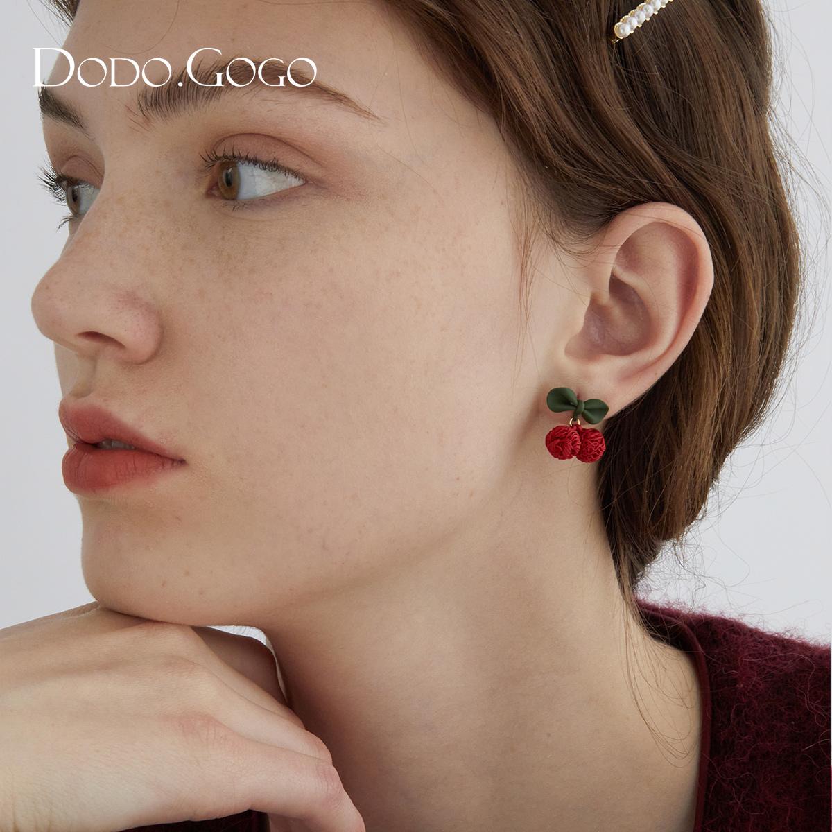 红色樱桃耳环女夏季款耳钉适合夏天的耳饰2021年新款潮耳夹无耳洞(红色樱桃耳环女夏季款耳钉)