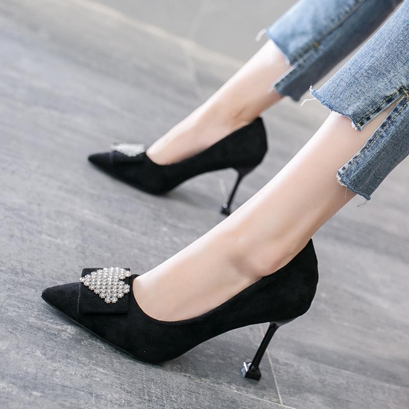 气质性感单跟高跟鞋尖头细跟口水女单鞋浅黑色钻百搭工作鞋猫跟鞋