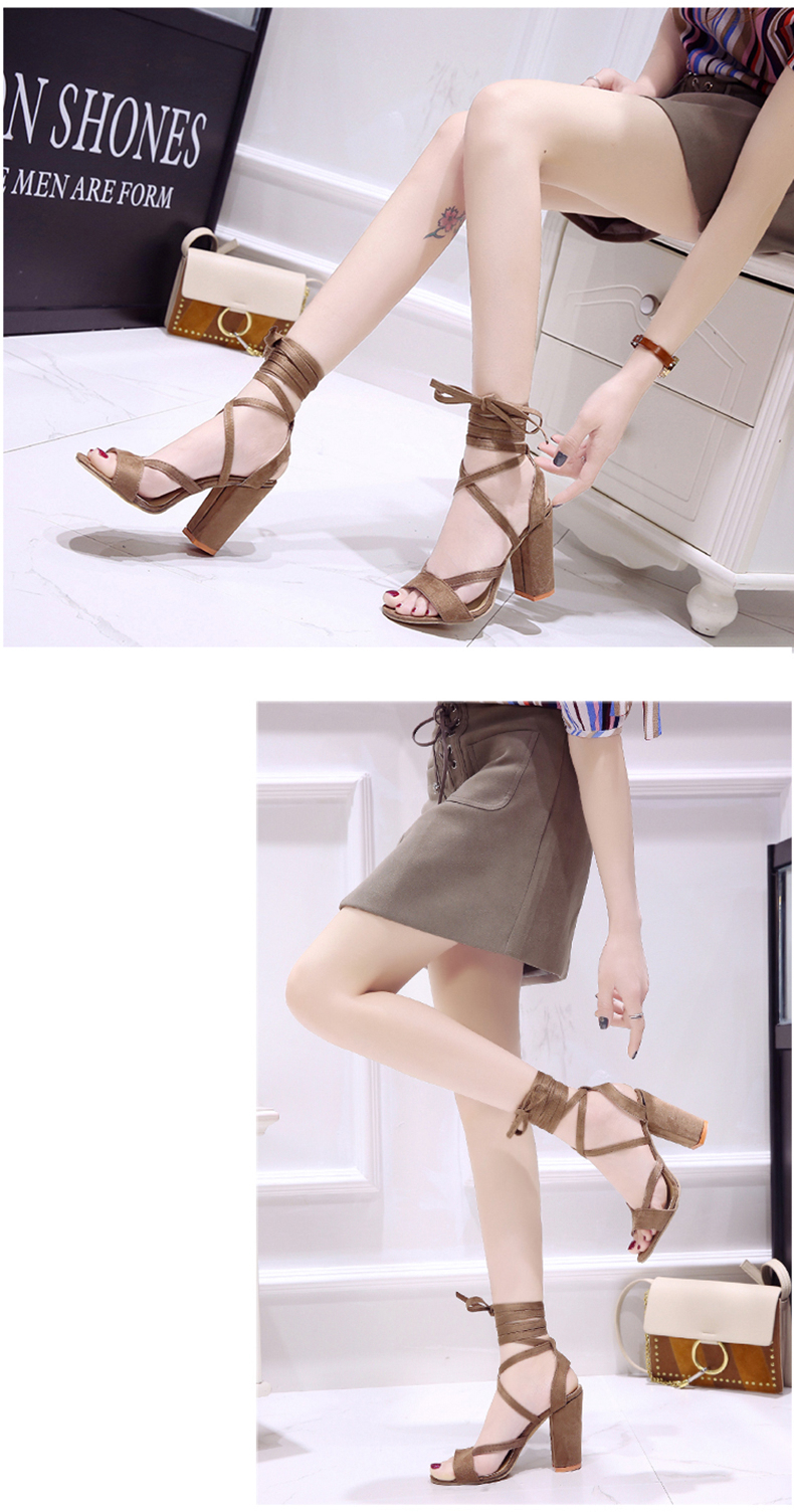Summer new Roman style cross straps thick with sandals wild small fresh high heels. 20
