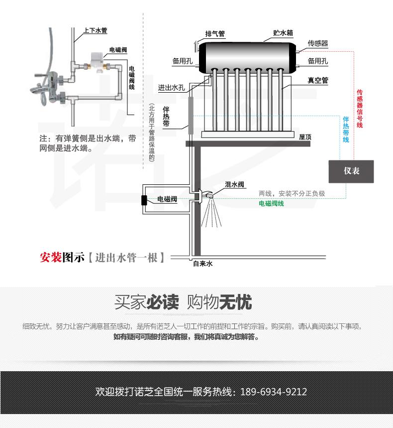 诺芝太阳能热水器家用全自动上水电加热一体不锈钢水箱保温桶光电详细照片