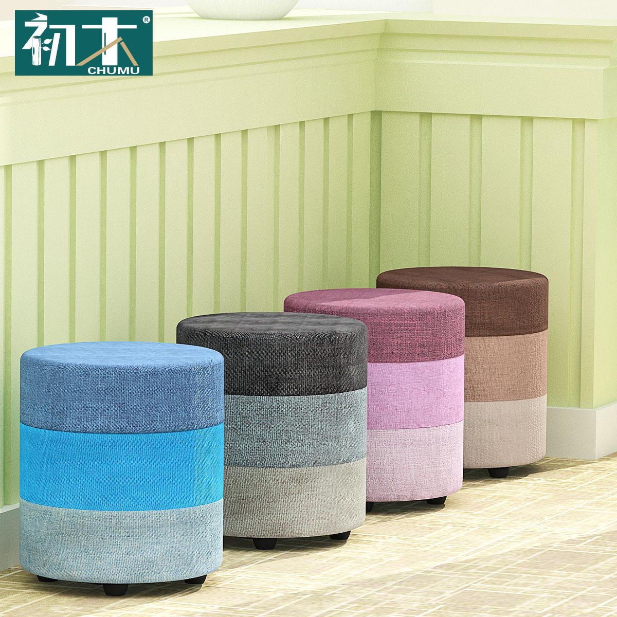 Gỗ sớm giày gỗ rắn băng ghế dự bị thời trang giày băng ghế dự bị phân đơn giản phân nhỏ trang điểm phân vải nhỏ gối sofa phân