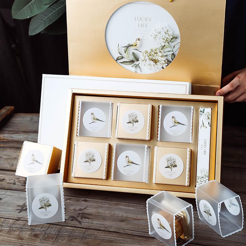 中秋月饼花鸟包装盒礼盒冰皮蛋黄酥高档礼品盒子手提袋创意6粒装