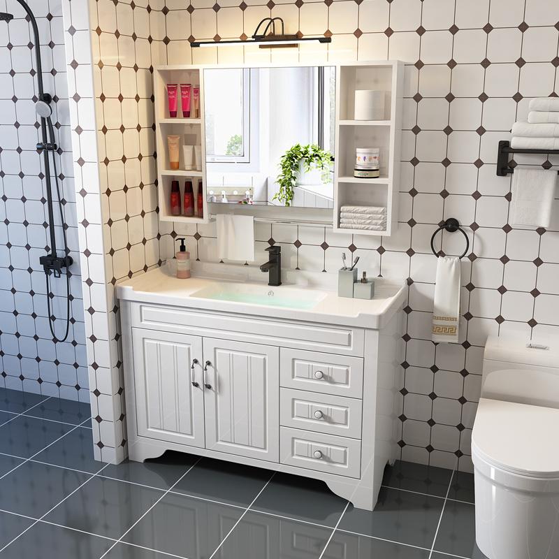 卫浴简约现代橡木浴室柜v橡木洗手脸盆面池卫生间实木洗漱台落地式