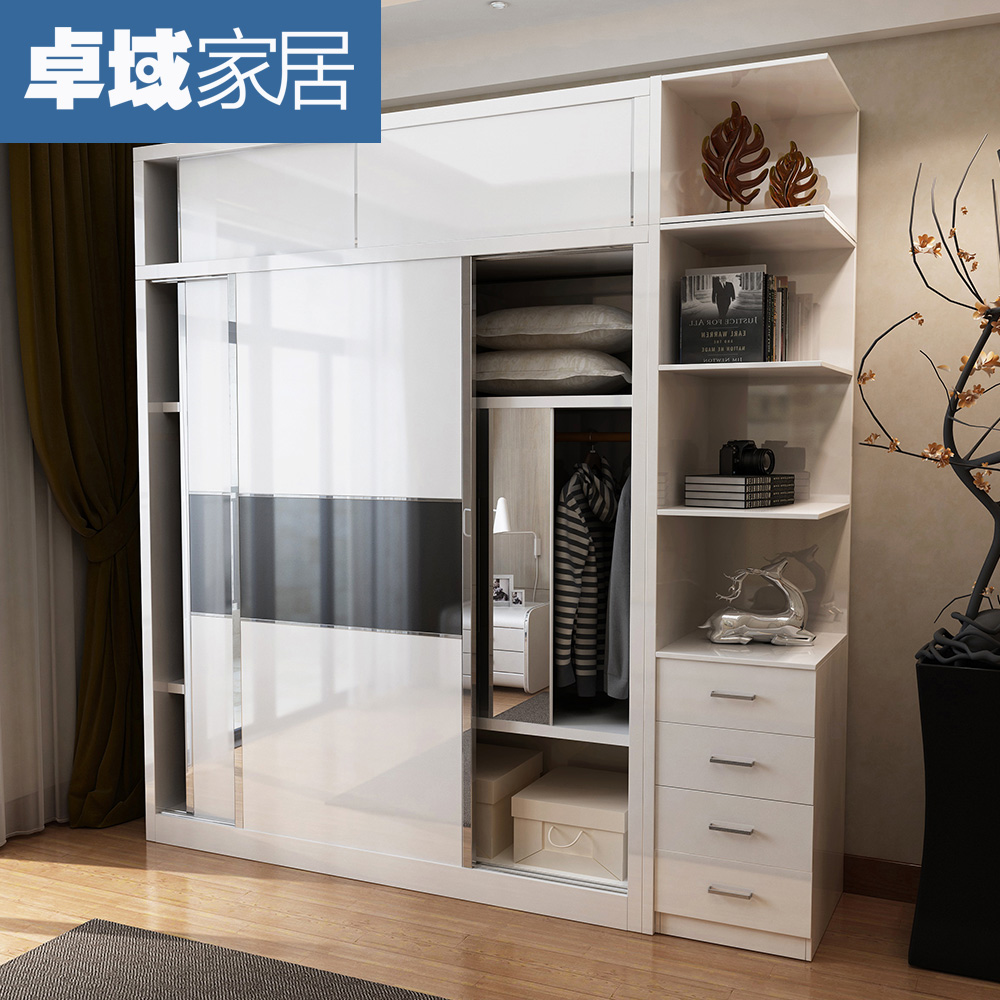 Modern Simple Sliding Door Coat Cabinet Plate Door Sliding Doors Overall  Wardrobe Combination 392