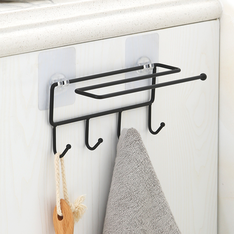 USD 11.67] Kitchen hanging towel shelf Toilet free punch rod rag ...