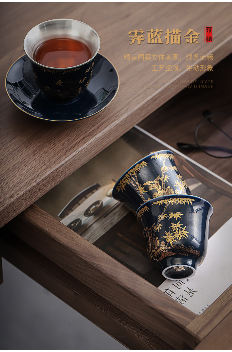 Jingdezhen colored enamel coppering. As 999 silver cup with saucer ceramic sample tea cup tea master cup personal cup silver cup