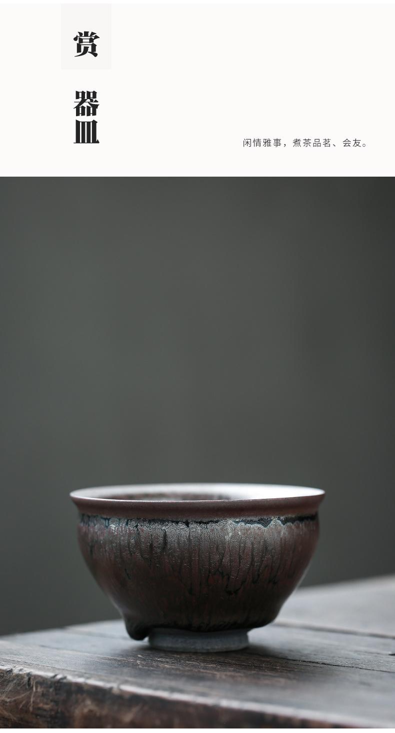 Temmoku up built light beam koubei kung fu tea set ceramic tire iron ash sample tea cup tea cup master cup tea cup