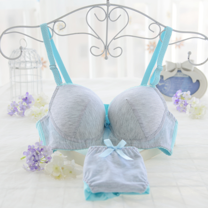 Summer thin cotton girly bra without wire gathered adjustment ...