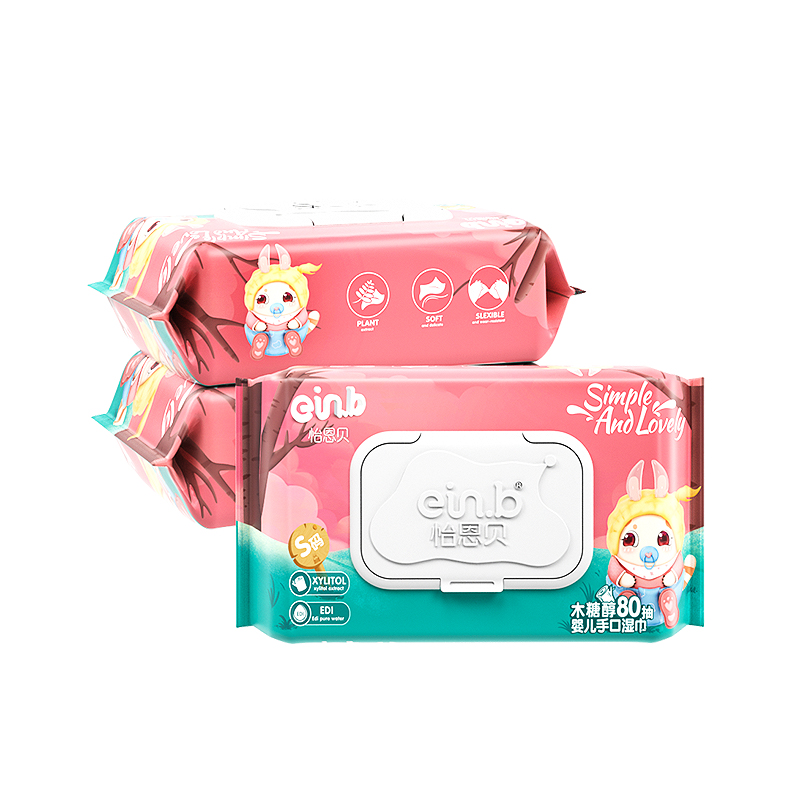 【怡恩贝】宝宝湿巾80抽*3包