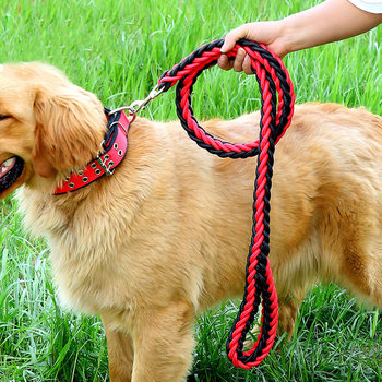 Medium and large dog chain golden retriever labrador husky traction rope walk dog rope collar pet supplies