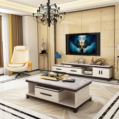Respectable marble TV cabinet coffee table telescopic combination