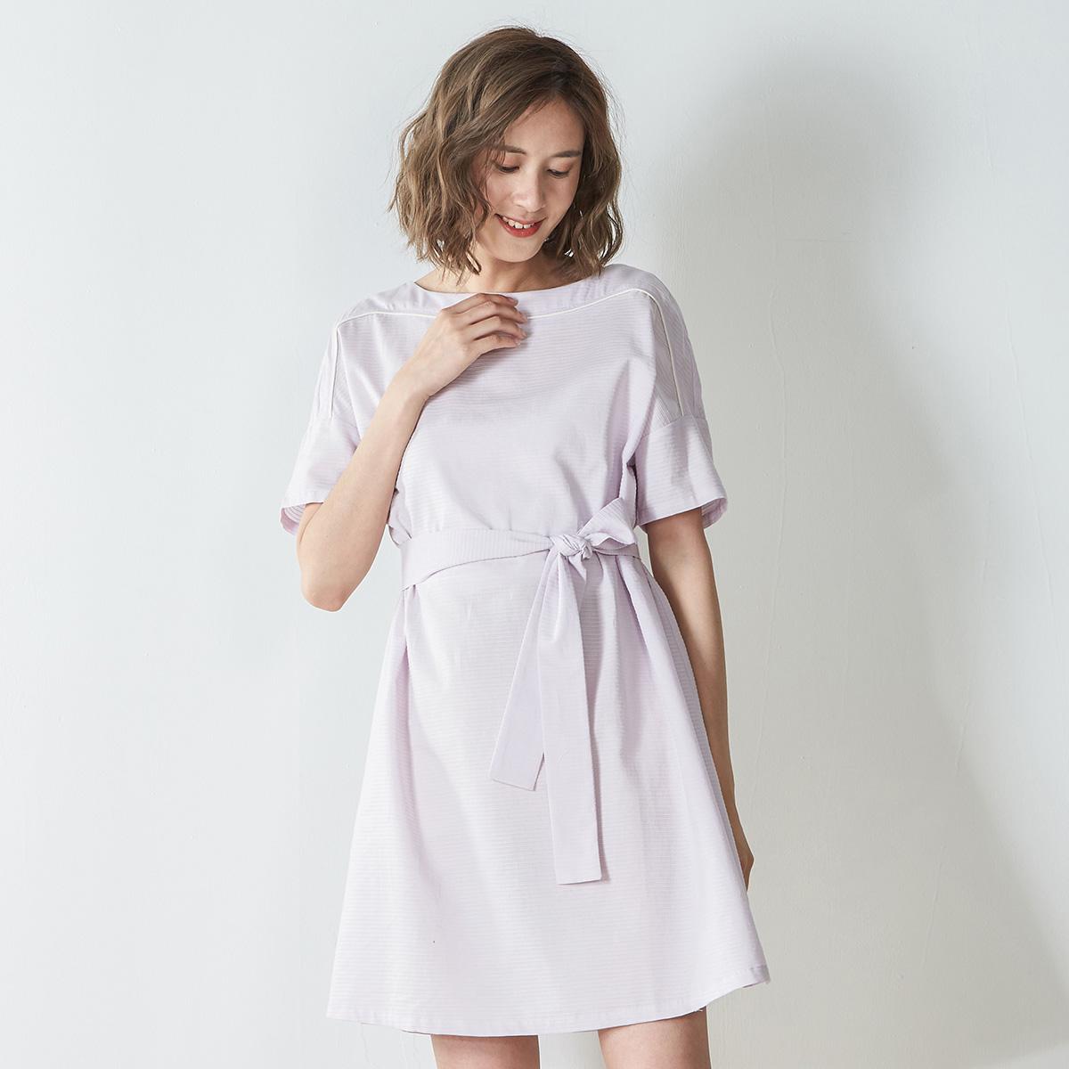[Trung niên khuyến mãi] Đặt 2018 mùa hè mới bông mỏng ngắn tay đầm cung cổ tròn Một từ váy