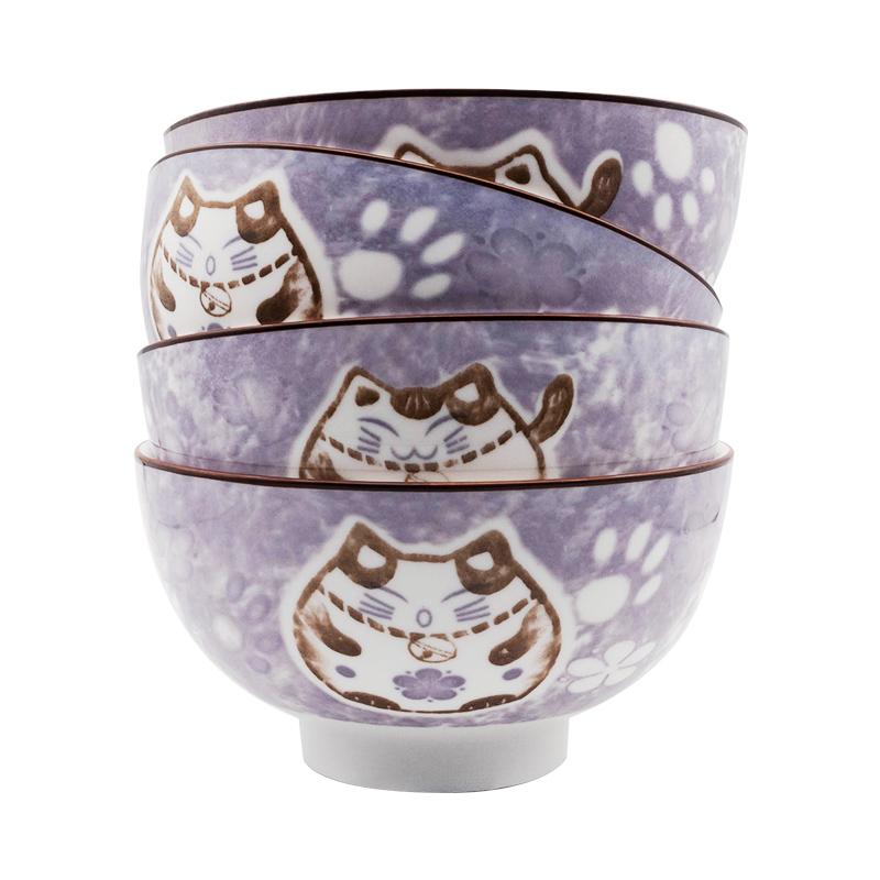 【日式雪花釉】券可领3张:雅诚德 釉下彩陶瓷碗4.5寸*4个 16.8元(36.8-20元券)