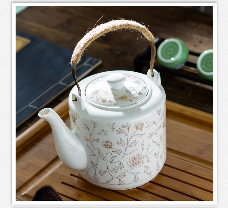 Ceramic teapot single pot of household cool cold KaiShuiHu high - capacity kettle CiHu big pot of porcelain teapot big kettle