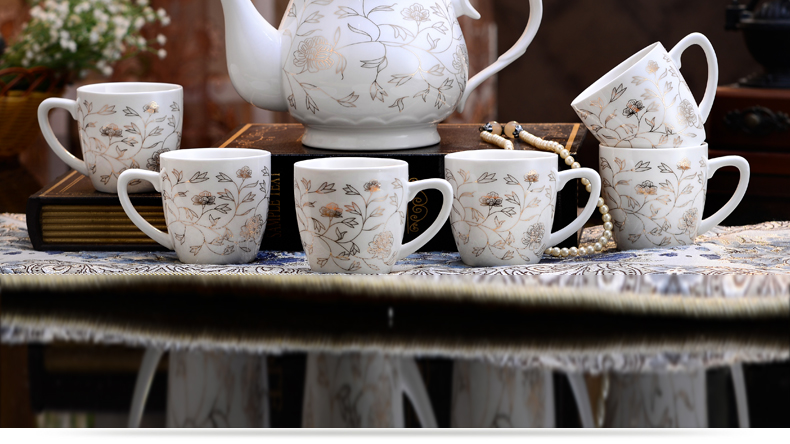 Household ceramic tea sets the teapot teacup contracted sitting room tea drinking 6 glasses of water ceramic cup teapot