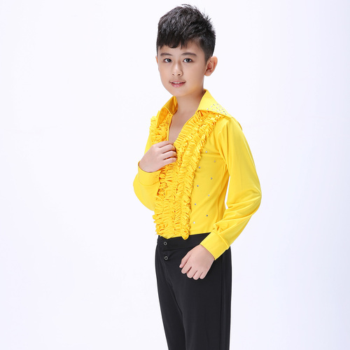 Boys latin dance shirt Boys Latin dance clothing children Dance Dress boys and girls training clothes Long Sleeve Dance Academy Ballet Performance Costume