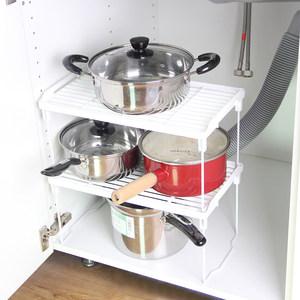 可折叠收纳架 可多层叠加储物柜隔断架 厨房置物架 调味瓶整理棚