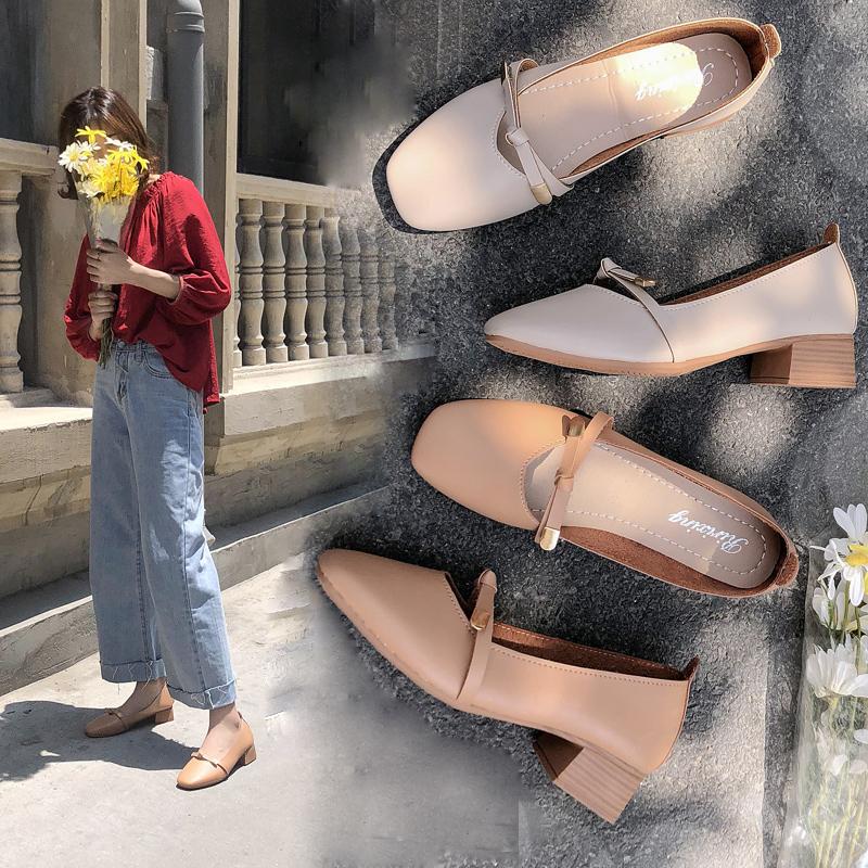 【eauor以约】粗跟浅口方头蝴蝶单鞋