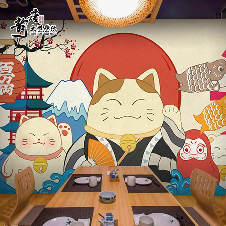 Japanese Cartoon Money Cat Sushi Restaurant Wallpaper Ramen Barbecue Theme Restaurant Japanese Cuisine And Wind Decoration Wallpaper