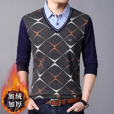 Áo len nam dày của Hengyuanxiang cổ áo sơ mi mùa đông cộng với nhung ấm áo len giả hai mảnh áo len thủy triều - Hàng dệt kim