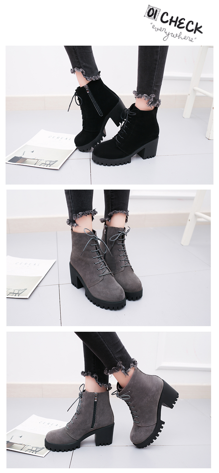 2018 new short tube autumn and winter women's boot thick with high-heeled solid color round head fashion casual warm boots wome 11