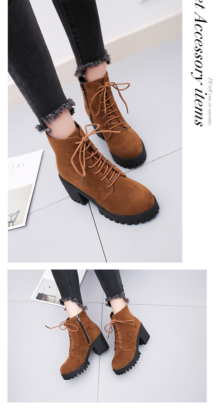 2018 new short tube autumn and winter women's boot thick with high-heeled solid color round head fashion casual warm boots wome 17