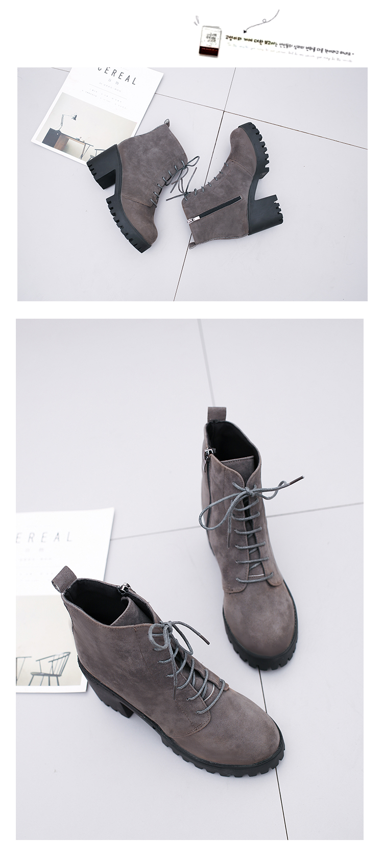 2018 new short tube autumn and winter women's boot thick with high-heeled solid color round head fashion casual warm boots wome 21