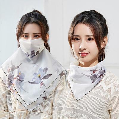 防晒丝巾口罩女夏薄款透气防紫外线