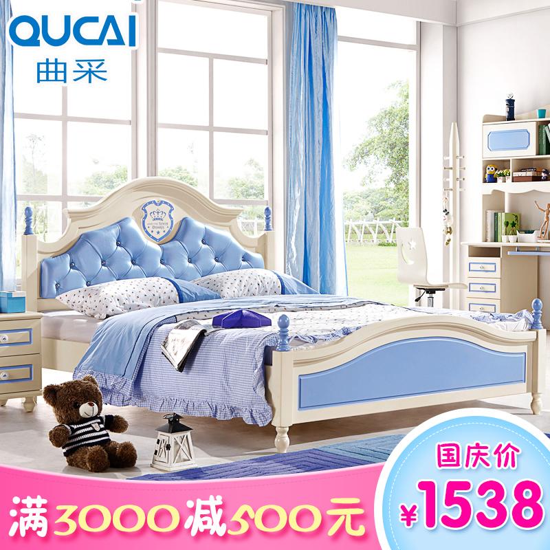 歐式王子床兒童床男孩青少年小兒童房家具組合套裝軟包1.2米1.5米