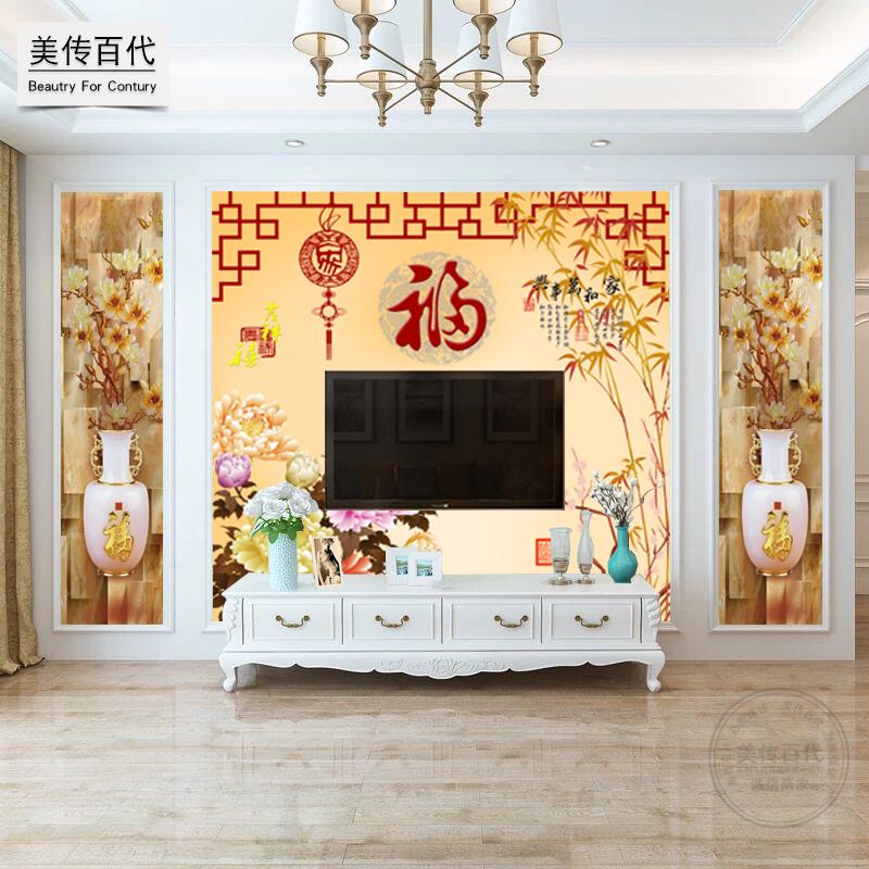 8d中式电视背景墙壁纸沙发影视墙装饰客厅墙纸3d立体壁画无缝墙布