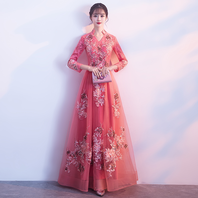 ab568bb70ecb3 Banquet evening dress skirt female 2019 new was thin spring long-sleeved  host annual meeting elegant noble dignified long section