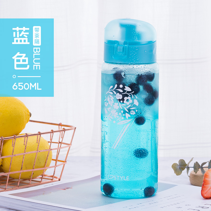 Flip cover -650ml - flower cluster blue