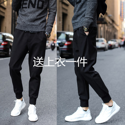 Spring new men's large size casual nine points black Harlan pants feet polyester sweat pants Korean version of the guard tide