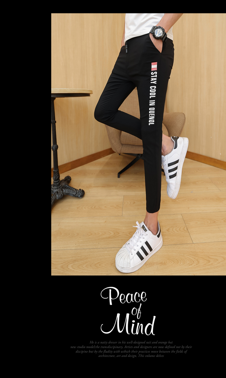 Quần nam Hàn Quốc phiên bản của xu hướng chín quần chân chặt chẽ của nam giới tám quần quần Slim in ấn đàn hồi 9 điểm quần âu