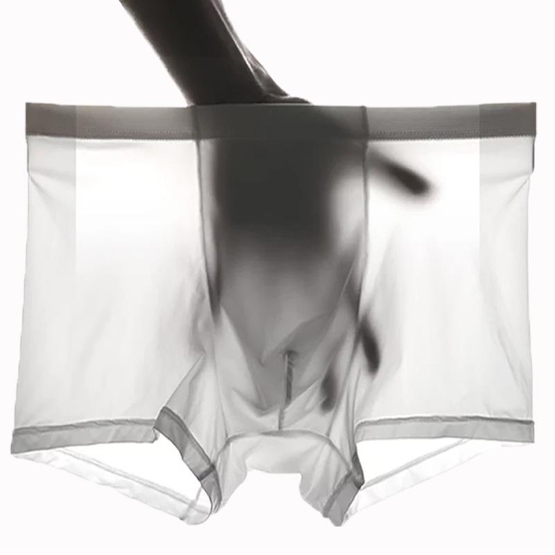 4条装 男士冰丝内裤无痕一片式超薄透气性感透明四角内裤男平角