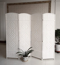 The straw rattan screen hand-folded partition solid wood fashion hotel Xuanguan living room bedroom mobile fold screen simplicity