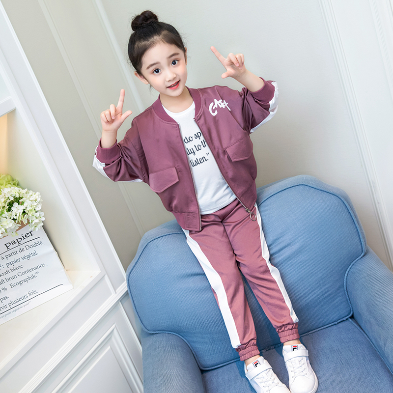 Foreign Childrens Autumn Suit 8 10 Years Old Girl Sweater Casual Fashion Jacket Trousers Two